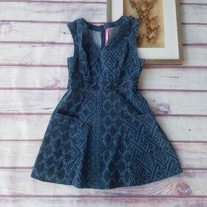 Anthro Tracy Reese Denim Pocket Mini Dress 10P